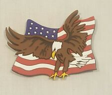 NEW RUBBER LASER CUT AMERICAN FLAG WITH EAGLE MAGNET