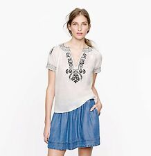 EUC J Crew Baja White Black Embroidered Top Size 0 Small Sold Out MRSP $110