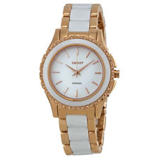 DKNY White Dial Rose Gold-tone White Ceramic Ladies Watch NY8821
