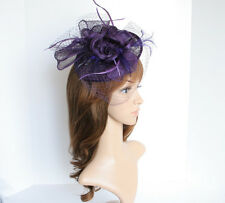 NEW Church Derby Wedding Sinamay w Feather & Veil Fascinator Purple VF651