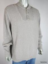 EDDIE BAUER  XL T Cotton Textured Button Neck Fisherman Sweater Beige Tall EUC