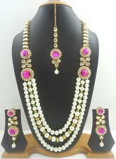 PURPLE PEARL GOLD TONE INDIAN TRADITIONAL RANI HAAR NECKLACE SET BRIDAL JEWELRY