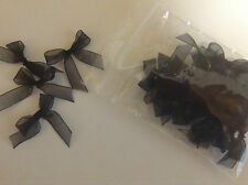 Organza  Ribbon Bows 38mmx10mm  Black  Qty 24 + 12 FREE Special Offer
