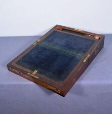 *Brass Inlaid Victorian English Antique Campaign Writing Slope in Rosewood
