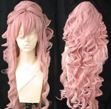 New Dark Pink Cosplay Long Clip On Ponytails Long Wig Wigs