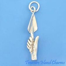 TROWEL IN HAND ARCHAEOLOGIST TOOL GARDENING 3D .925 Solid Sterling Silver Charm