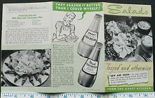 1940s+ Brochure Kraft Salads, French Dressing, Sandwiches & Salad Recipes