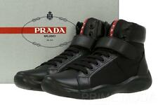 NEW PRADA AMERICA'S CUP LEATHER TESUTTO BLACK LOGO SNEAKERS BOOTS SHOES 9/US 10