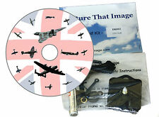DIY CD Clock KIT. British Aviation, Spitfire, Lancaster & Vulcan on Union Flag,