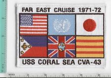 USS CORAL SEA CV-43 FAR EAST CRUISE 71-72 1971-1972 NAVY JACKET PATCH