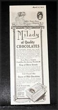 1912 OLD MAGAZINE PRINT AD, AMERICAN CANDY CO, MILADY, THE QUEEN OF CHOCOLATES!