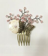 Traditional Korean Handmade Flower Wedding Hair Comb Pin Accessory US Seller