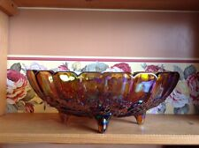 Beautiful large vintage footed Indiana Glass colorful Carnival Glass feuit bowl
