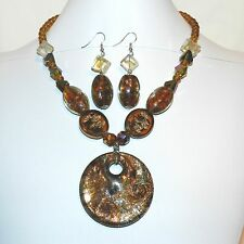 "FN240f Multi-Colored Brown Sparkle Lampworked Glass 18""+ Necklace & Earring Set"