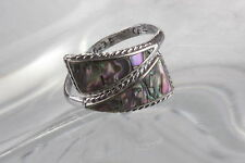 ABALONE LADIES ADJUSTABLE SILVER & MOTHER OF PEARL RING VINTAGE  0803