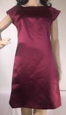 Max And Cleo Cocktail Dress Cranberry Red Satin Sleeveless Holiday Sheath Size 6