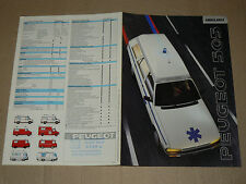 Prospectus PEUGEOT 505 Ambulance  1990    brochure  prospekt catalogue car