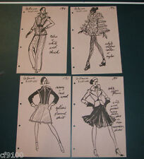 Vintage Fashion Stat Sheets 1950's & 1960's Set of 4 La Roche #a63