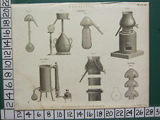 1802 DATED ANTIQUE PRINT ~ CHEMISTRY ALEMBIC VARIOUS APPARATUS ALCOHOL ALUDEL