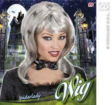 Long Silver Witch Spider Lady Wig Halloween Fancy Dress
