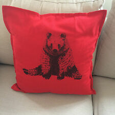 Grizzly Bear Red Large 50x50cm Home Decorative Cotton Linen Cushion Cover
