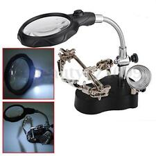 New 3.5x 12X Helping Hand Clip LED Iron Stand Len Magnifier Watch Repair Tool