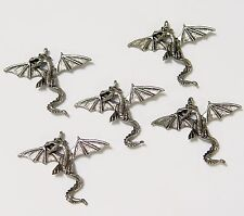 5 Fantasy Flying Dragons necklace pendants antiqued metal cast jewelry charms