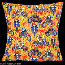 "BRAND NEW 'Cool Cats' Motor Bike Riders Orange Cotton 16"" Pillow Cushion Cover"