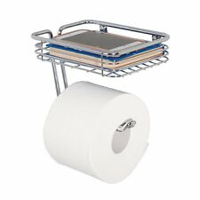 mDesign Toilet Paper Holder with Shelf for Bathroom - Wall Mount, Chrome