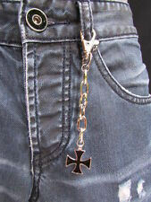 "NEW MEN WOMEN SILVER METAL KEY CHAIN RING 5"" LONG BLACK CROSS JEANS BAG CHARM"