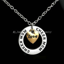 Xmas Gifts Love Cheer Mom Heart Charm Circle Family Name Necklace Women  Pendant