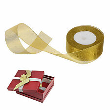 1 x 25 Yard Roll of 10mm Gold X'mas Gold Grosgrain Ribbon Craft Christmas- 3/8""