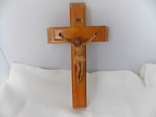 "Catholic Last Rites Wood Crucifix 13"" Wall Hanging Original Candles"