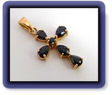 STERLING SILVER VERMEIL GENUINE BLUE SAPPHIRE PENDANT CROSS 3.50 CT TW Religious