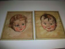 Lot 2 Vintage Maud Tousey Fangel Framed Prints of Little Boy & Girl