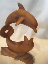 B15) Hand Carved 8 Inch Tall Double Dolphin Wood Statue Sculpture