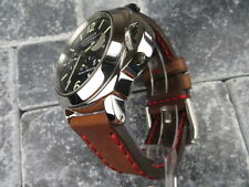 24mm NEW COW LEATHER STRAP Brown Watch Band Red Stitch PAM 24 mm