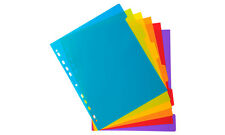 A4+ Extra Wide 5 Part Plastic File Dividers Translucent Bright Colours