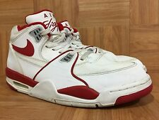 RARE�� Nike Air Flight '89 White Leather Varsity Red Retro Size 12 306252-105