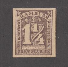 Hamburg Mi 8a MNG. 1864 1¼s violet brown reprint on unwatermarked paper