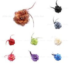 12 PCs Wholesale Feather Flower Hair Clip Pin Brooch Glitter Rhinestone 19 Color