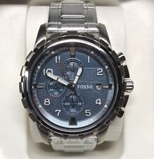 NEW W/TIN FOSSIL DEAN CHRONOGRAPH BLUE DIAL MEN'S WATCH STAINLESS STEEL FS5023