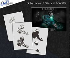 Step by Step Airbrush Stencil AS-308 M ~ Template ~ UMR-Design