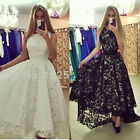 UK New Womens Lace Long dress Sleeveless Evening Party Cocktail Formal ball gown