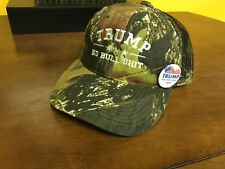 TRUMP NO BULL $HIT CAMO EMBROIDERED  MESH VENTED MOSSY OAK P-D With FREE BUTTON