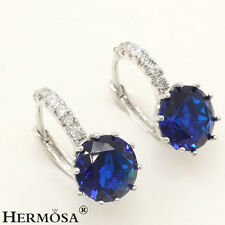 75% OFF 925 Sterling Silver Blue Sapphire Gemstone Prong Setting Stud Earrings