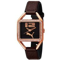NEW PUMA PLIANCY ROSE GOLD,BROWN LEATHER BAND,CRYSTAL BEZEL WATCH PU100222001