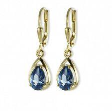 ASS 333 Gold Topmodische Damen Ohrringe Brisur Ohrhänger Tropfen mit Blautopas e