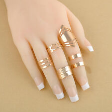 5pcs/set Mid Midi Above Knuckle Ring Band Gold Silver Tip Finger Stacking Womens