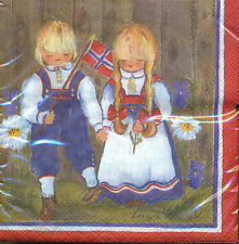 Norwegian Table Napkins – Children with Norwegian Flag Napkins